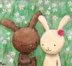 ORIGINAL Painting Bunny Love Illustration Cute Woodland by mikaart,