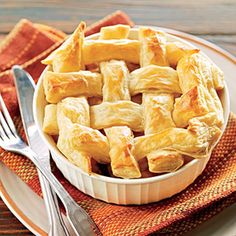 Leftovers You'll Love: Turkey Pot Pie. I make this with the (in the frozen section) Pillsbury folded pie crusts cut into strips, and deli turkey slices. So fast and so delicious!