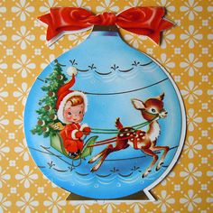 Snow Globe Vintage Greeting Card