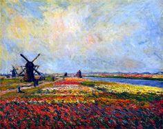 Fields of Flowers and Windmills near Leiden, Claude Monet, 1886