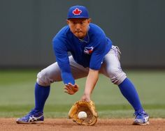 Munenori Kawasaki of the Toronto Blue Jays takes infield practice...