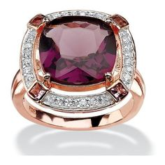 PalmBeach Jewelry .22 TCW Cushion-Cut Simulated Amethyst & CZ Halo... ($50) ❤ liked on Polyvore featuring jewelry, rings, purple, rose gold plated ring, princess cut cubic zirconia ring, cushion cut amethyst ring, sterling silver cocktail rings and cushion cut cz ring