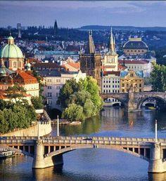 View of the #Prague Old Town river bank with Manes & Charles bridges #travel .: svasek.eu :.