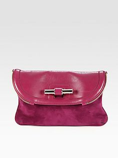 Jimmy Choo Jasmine Suede & Leather Clutch