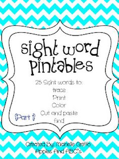 Sight Word Printable: trace, print, color, cut and paste, and circle the sight words
