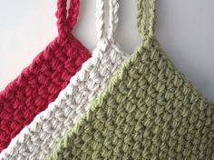 Crocheted Potholders  Light Country Set of 3 in von CrochetMaggie