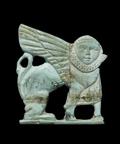 A Phoenician bone plaque of a sphinx.  Circa 8th Century B.C.