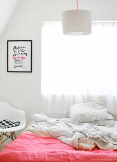 pops of color on white / bedroom