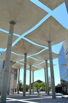 These remind me of stingrays swimming in the ocean. Landscape Structure, Roof Structure, Shade Structure, Steel Structure, Landscape Architecture Design, Urban Architecture, Architecture Details, Canopy Architecture, Urban Furniture