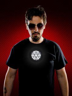 Iron Man T-Shirt with Light-up Arc Reactor: Cotton Man - http://geekstumbles.com/iron-man-t-shirt-with-light-up-arc-reactor-cotton-man/