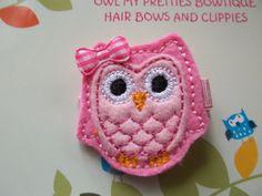 Pretty PINK Wool  Felt Owl Hair Clip Baby by OwlMyPretties on Etsy, $3.75
