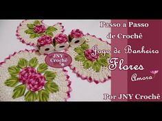 Passo a Passo Jogo de Banheiro Flores - Tapete da pia por JNY Crochê - YouTube