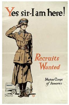 WWI Motor Corps of America recruitment poster Ww1 Propaganda Posters, Wilhelm Ii, Kaiser Wilhelm, Military Women, Military History, Ww2 Women, Military Pins, World War One, Women In History