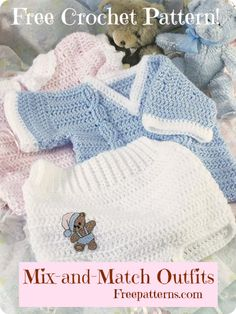 Free Mix-and-Match Outfits Crochet Pattern -- Download this free crochet baby outfit pattern from FreePatterns.com.