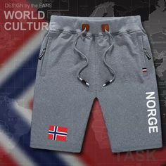sale retailer 1c0b2 5c5f0 9.07  Pantalones cortos para hombre Norway Norge beach new men s board  shorts flag workout zipper pocket sweat bodybuilding casual Norwegian  Nordmann en ...