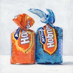 I am a painter and illustrator, specialising in food art. Paintings and prints available, commissions welcome. Joel Penkman, Food Illustrations, Illustration Art, Sweet Wrappers, A Level Art Sketchbook, Object Photography, Object Drawing, Food Painting, Plastic Art