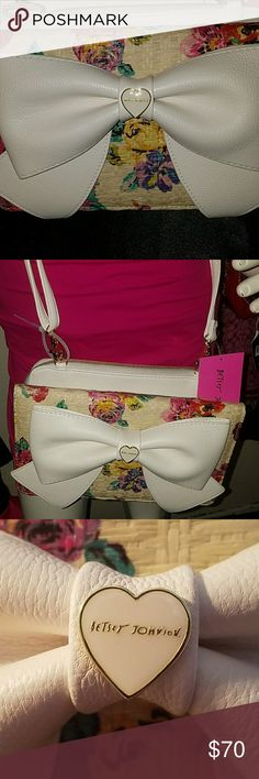 LAST CALL! NWT!! White Leather Crossbody Brand new with tags white leather crossbody by Betsey Johnson Betsey Johnson Bags Crossbody Bags