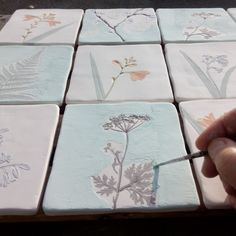 Painting glaze on a set of bespoke botanical tiles! Lavender Walls, Organic Ceramics, Glaze Paint, Glazed Tiles, Wall Ornaments, Ceramic Coasters, Clay Tiles, Plate Design, Air Dry Clay