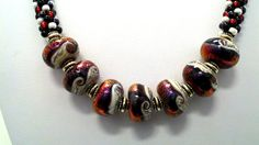 Celestial Grace Lampwork Focal Kumihimo by sparkleezcrystals, $65.00