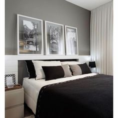 Mais um quarto lindo e cheio de charme apesar da área ser pequena. A profundidade da cabeceira em MDF laqueado serve de apoio para os quadros que seguem a paleta das cores escolhidas como base. Chic!!!!