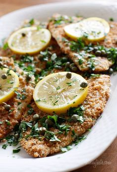 Lightly pan fried breaded filet of flounder served in a lemon, wine, butter sauce with capers and parsley. A wonderful way to enjoy flounder, tilapia or any white fish.  We often have this with chicken for those of you who don't like fish, but I discovered it's great with fish too, and perfect for Christmas Eve for those of you who eat fish.        Flounder Piccata Skinnytaste.com Servings: 4 • Serving Size: 1 piece • Points +: 7 pts • Smart Points: 6 Calories: 268.7 • Fat: 7.9 g • Protein…
