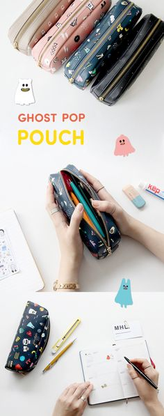Is it a pencil case? Is it a makeup pouch? You decide! The adorable Small Ghost Pop Leather Pouch is so versatile and great for school, work, home, and everything in between. School Pencil Case, Diy Pencil Case, Pencil Pouch, Pencil Cases, Makeup Case, Diy Makeup, Makeup Pouch, Diy Bags For School, Diy Gifts For Mom