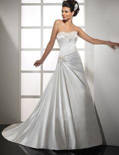 A Line Wedding Dresses Vintage Long Weeding Dress 2017 Satin Beaded Bride Gowns Vestido De Novia