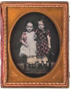 daguerreotype was taken by Rufus P. Anson of 589 Broadway, New York between the years of 1853-1860. The girls are identified as Florence and Rosalie Hart