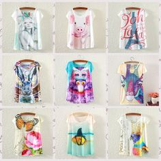 Cheap T-Shirts, Buy Directly from China Suppliers:[Magic] 2015 new hot tees short sleeve cotton t-shirt women/girls casual tshirt cartoon/animal print t shirt 21color fre