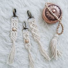 Macrame key chain or purse accessories! This item is made out of 100% unbleached cotton 2mm rope. Perfect for any macrame lover who wants to add an instant bohemian feeling to any purse or key!! Approximate dimension: 1 inch wide. 8.5 inches long If you are interested in others key chain, bag decoration designs you can see them here: https://www.etsy.com/listing/492362617/hand-made-macrame-keychain-withtassle?ref=shop_home_active_1 https://www.etsy...