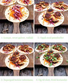 Kartoffel Skåle i lompe med king østershatte, koriander og en vanvittigt godt hoisin-tahinisaus | Vega mission