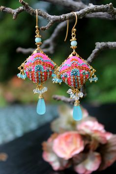 neon colors Hot Candy Pink and Shades of Blue  by Peelirohini, $72.00