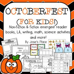 Octoberfest for Kids! Emergent Readers, L.,Science, and Math activities that are perfect for all of October! Emergent Readers, New Clip, Science Activities, First Grade, Nonfiction, Language Arts, Fun Stuff, Kindergarten, October