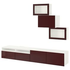 BESTÅ TV storage combination/glass doors, white Selsviken, dark red-brown clear glass, 94 Shop here! Ikea Tv, Tv Storage, Storage Spaces, Record Storage, Tv Bank, Dark Red Brown, Frame Shelf, Plastic Foil, Gadgets And Gizmos