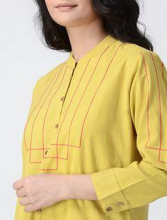 Yellow Mandarin Collar Handwoven Khadi Cotton Kurta with Asymmetrical Hem Neck Designs For Suits, Sleeves Designs For Dresses, Dress Neck Designs, Fancy Blouse Designs, Stylish Tops For Women, Stylish Dresses For Girls, Churidar Designs, Kurta Designs Women, Kurti Embroidery Design
