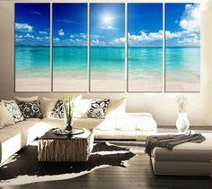 LARGE CANVAS ART Print Sea and Beach - Art Canvas Print for Home Decoration, Large Seascape Beach Canvas Prints