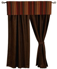Chocolate Suede Drapery Set 84 Long rustic western southwestern window curtains wooded river authorized retailer Bandera bed Ensemble set