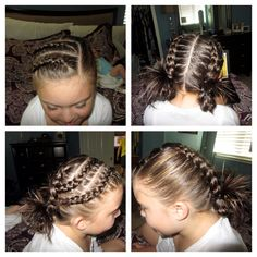 2 inverted braids on side top into 2 inverted braids on either side of the head.