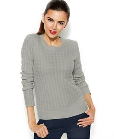 Charter Club Long-Sleeve Cable-Knit Cashmere Sweater - Sweaters - Women - Macy's
