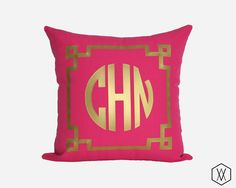 Gold Monogram Throw Pillow Cover - Gold, Silver, and More - Chinoise Greek Monogram Pillow Sham - Fuchsia