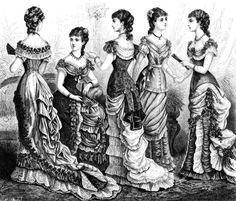 1879 Victorian Bustle Ball Gown Fashion Plate