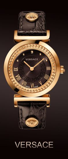"""Versace Women's P5Q80D598 S497 """"Vanity"""" Rose Gold Ion-Plated Watch with Brown…"""