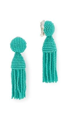 Off the Shoulder: Oscar de la Renta Short Tassel Beaded Clip On Earrings | CoastalLiving.com