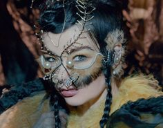 "Björk on Instagram: ""cover interview in today's #fréttablaðið  photo by warren du preez & nick thornton jones / headpiece by @james.t.merry / makeup by @andrewgallimakeup / hair by @martincullen65 / dress by @davidhsf #björk #notget"""