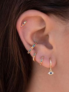 The Rainbow bar earrings are bar-shaped studs with multicolor stones. They are s… The Rainbow bar earrings are bar-shaped studs with multicolor stones. They are small and minimalist, which is Bar Stud Earrings, Gold Hoop Earrings, Crystal Earrings, Diamond Earrings, Earring Studs, Cross Earrings, Diamond Jewellery, Vintage Jewellery, Ear Studs