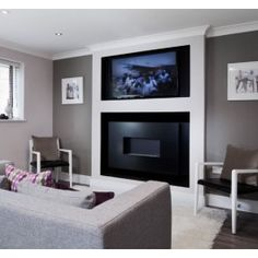 Flueless Gas Fire with TV Above - ANGEL - BLACK