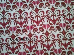 Lilliput Fields - Damask Cotton Fabric - Pink, Brown