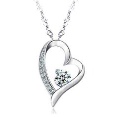 14K White Gold Overlay Sterling Silver Forever Lover Heart Pendant Necklace >>> Check this awesome product by going to the link at the image.