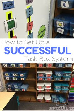 Check out how to set up a successful task box system and get access to the number one reason WHY it works for all levels! Life Skills Classroom, Autism Classroom, Special Education Classroom, Classroom Setup, Future Classroom, Music Education, Workbox System, Vocational Tasks, Self Contained Classroom