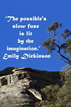 """""""The possible's slow fuse is lit by the imagination."""" – Emily Dickinson – On Mt. Lemmon, Tucson, Arizona, image by F Photography.  – Deep reflection builds lasting insights and enhances the creative imagination.  Learn more at http://www.examiner.com/article/educate-creativity-with-deep-reflection"""